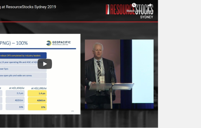 ResourceStocks 2019 video presentation: Geopacific Resources Limited