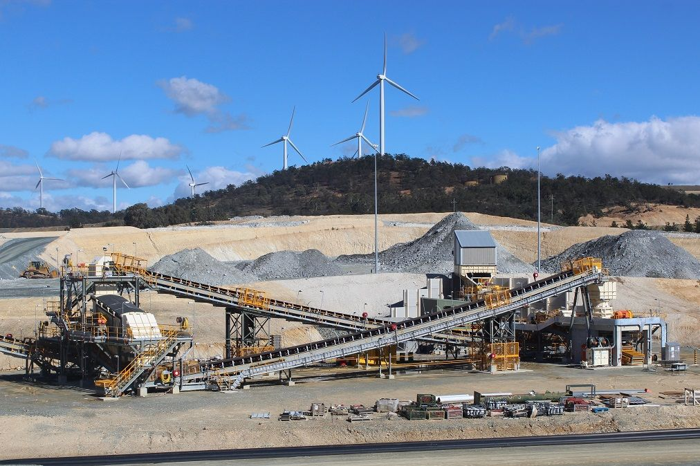 oodlawn crushing plant and background wind farm