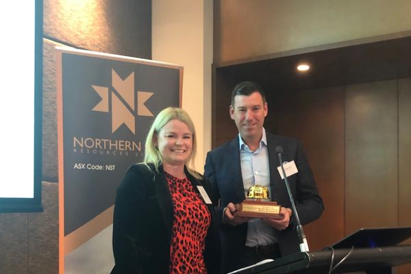 editor ristie atten presenting the 2019 eal andor erger of the ear ward to orthern tar executive chairman ill eament at the companys preiggers strategy day